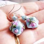 Turquoise Lampwork Earrings..