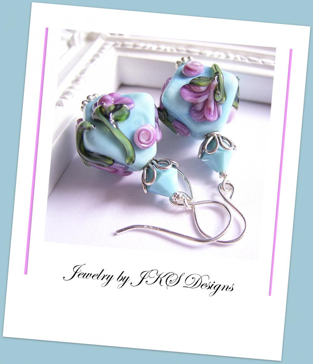 Turquoise Lampwork Earrings, Shabby Chic Blue Floral Earrings, Jewelry by JKS Designs