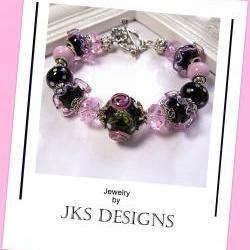 Shabby Chic Black Rose Pink Floral Lampwork Glass and Silver Silver Beaded Charm Bracelet, Jewelry by JKS Designs Australia